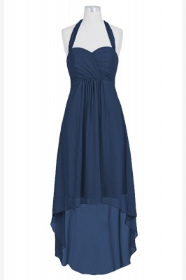 A Line Chiffon Hi-Lo Halter Bridesmaid Dresses with bowknot_3