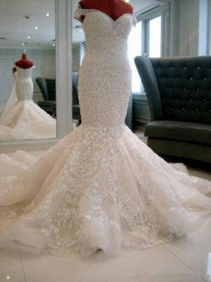 Off The Shoulder Applique Beaded Fitted Mermaid Wedding Dresses   Open Back Bridal Gown_3