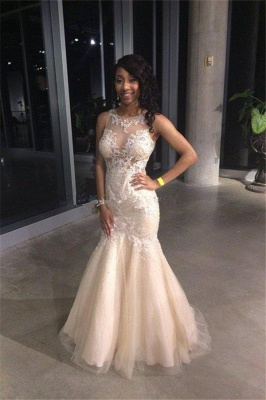 2019 Gorgeous Sexy Mermaid Prom Dresses Sleeveless Lace Appliques Appliques Evening Gowns_2