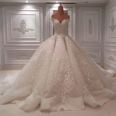 Gorgeous Off The Shoulder Sweetheart Applique Beaded Ball Gown Wedding Dresses_1