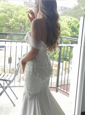 Exquisite Off-the-shoulder Train Lace-Appliques Mermaid Wedding Dress_3