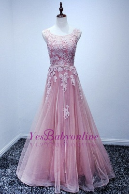 High-Neck Floor-Length Gorgeous Lace A-Line Pink Prom Dresses_1