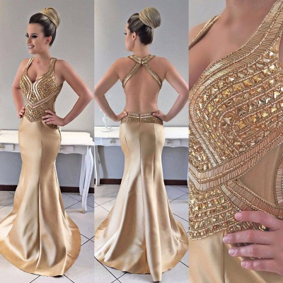 Mermaid Modern Crystals Straps Gold Prom Dress_3