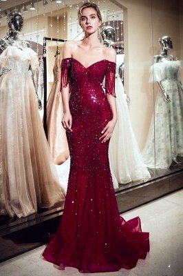 Sparkly Burgundy Crystal Off-the-Shoulder Prom Dress | 2019 Mermaid Evening Dress with Tassels_3