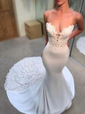 Simple Appliques Sleeveless Wedding Dresses | Mermaid Long Court Train Bridal Gowns_1