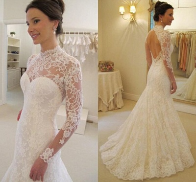 Mermaid Long Sleevess Lace Glamorous Sweep Train Backless Wedding Dress_3