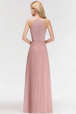 Elegant A-Line Chiffon Bridesmaid Dresses   Halter Lace Wedding Party Dresses_6