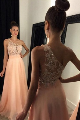 Appliques Gorgeous One-Shoulder Lace A-line 2019 Prom Dress_3