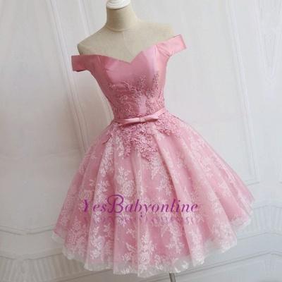 Elegant Pink Off-the-Shoulder Appliques Bowknot A-line Homecoming Dress_1