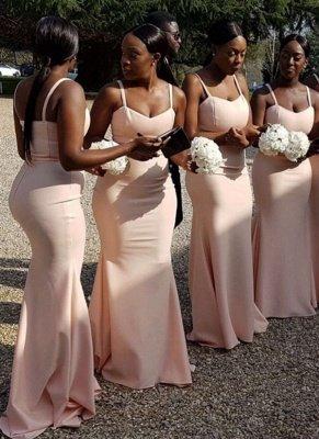 Chic Straps Pink Bridesmaid Dresses | Sleeveless Mermaid Wedding Party Dresses_1