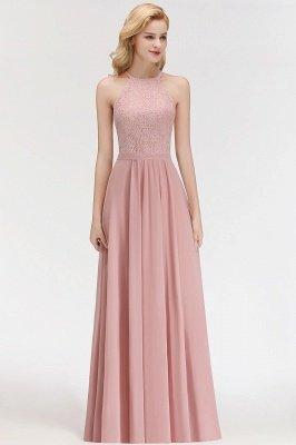 Elegant A-Line Chiffon Bridesmaid Dresses   Halter Lace Wedding Party Dresses_5