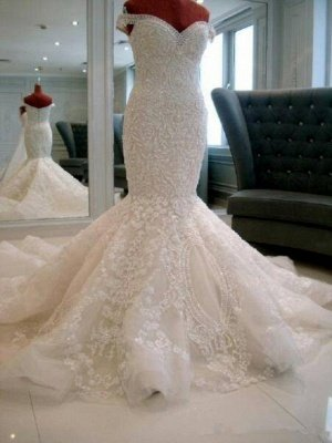 Off The Shoulder Applique Beaded Fitted Mermaid Wedding Dresses | Open Back Bridal Gown_3