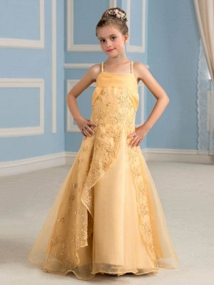 A-Line Organza Embroidery Spaghetti Straps Floor-Length Flower Girl Dress