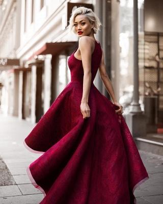 Hi-Lo Halter Sleeveless Elegant Lace A-line Prom Dresses_5