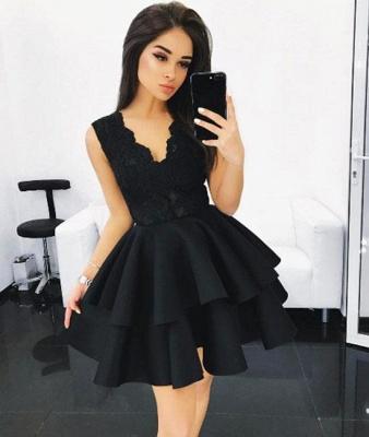 V-Neck Lace Layers Elegant A-line Sleeveless Homecoming Dresses_2