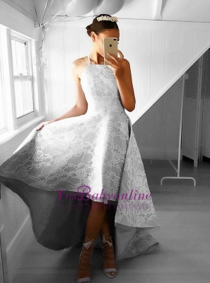Hi-Lo Halter Sleeveless Elegant Lace A-line Prom Dresses_1
