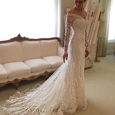 Glamorous Off-the-Shoulder Long Sleeves Lace Mermaid Wedding Dresses_3