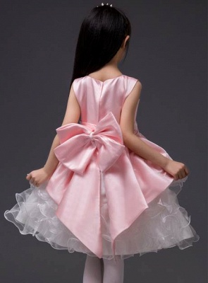 Cute A-Line Organza Scoop Bowknot Knee-Length Flower Girl Dress_3