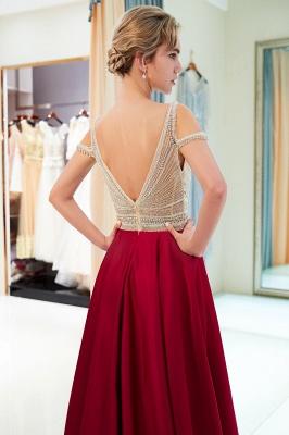 A-Line Burgundy V-Neck Sleeveless Prom Dress | 2019 Sexy Crystal Open Back Evening Dress_4