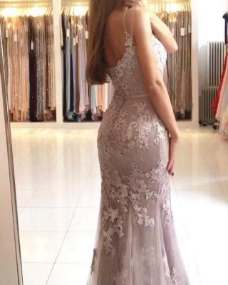 Lace Appliques Sheath Prom Dresses | Long Spaghetti-Straps Evening Gowns_4