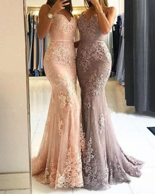 Lace Appliques Sheath Prom Dresses | Long Spaghetti-Straps Evening Gowns_1