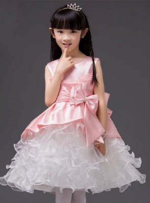 Cute A-Line Organza Scoop Bowknot Knee-Length Flower Girl Dress_1