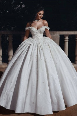 Glamorous Off The Shoulder Beaded Appliques Ball Gown Wedding Dresses_1