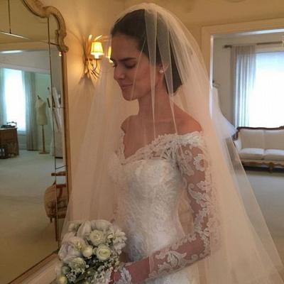 Glamorous Off-the-Shoulder Long Sleeves Lace Mermaid Wedding Dresses_6