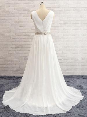A-line Chiffon Beading Wedding Dress   V-Neck Ruffles Long Bridal Dress_3