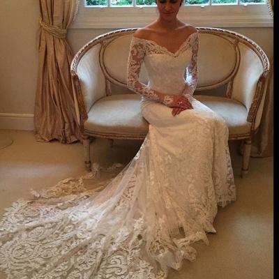 Glamorous Off-the-Shoulder Long Sleeves Lace Mermaid Wedding Dresses_4