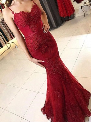 Lace Appliques Sheath Prom Dresses | Long Spaghetti-Straps Evening Gowns_5