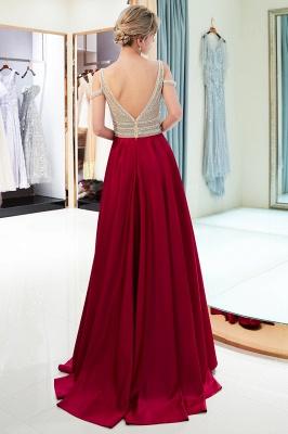 A-Line Burgundy V-Neck Sleeveless Prom Dress | 2019 Sexy Crystal Open Back Evening Dress_5