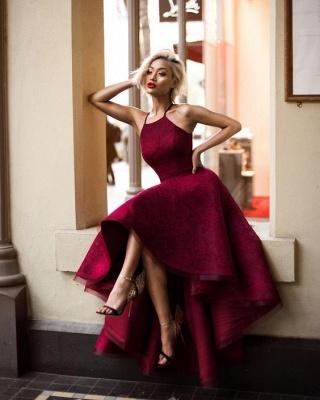 Hi-Lo Halter Sleeveless Elegant Lace A-line Prom Dresses_6