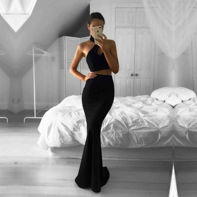 Two-Piece Black Mermaid Sleeveless Halter Newest Prom Dress_3