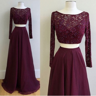 2019 Two-Piece Prom Dresses Maroon Long Sleeves Lace Beading A-line Evening Gowns_3