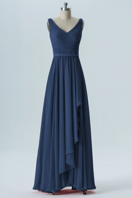 A Line Chiffon Hi-Lo V-Neck Sleeveless Bridesmaid Dresses with Ruffles_4