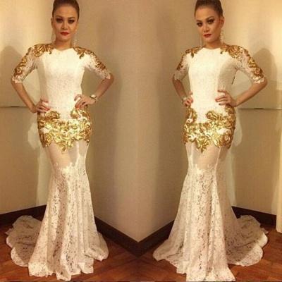 Luxurious Half-sleeve Lace Prom Dresses   Long Mermaid Evening Dresses_3