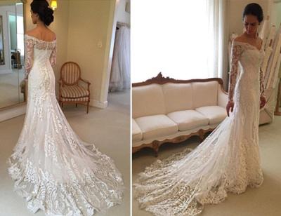 Glamorous Off-the-Shoulder Long Sleeves Lace Mermaid Wedding Dresses_5
