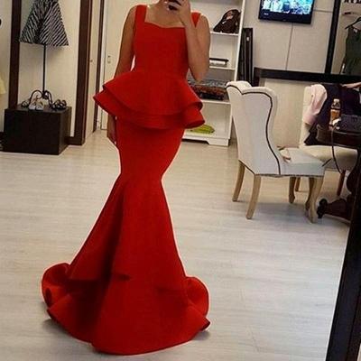 Chic Red Mermaid Prom Dresses Peplum Ruffles Square Neck Sleeveless Evening Gowns_3