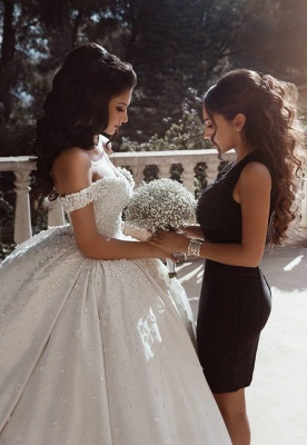 Glamorous Off The Shoulder Beaded Appliques Ball Gown Wedding Dresses_3