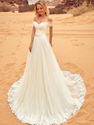 Simple Off-the-Shoulder Wedding Dresses | A-Line Backless Lace-up Bridal Gowns_1