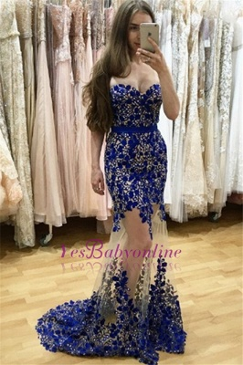 Sweetheart Lace-appliques Sweep-Train Sexy Mermaid Sleeveless Prom Dress_3
