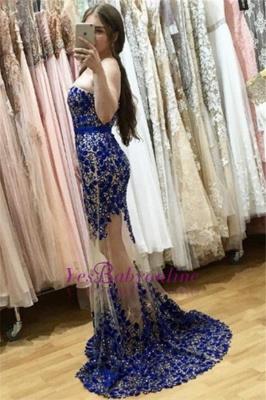 Sweetheart Lace-appliques Sweep-Train Sexy Mermaid Sleeveless Prom Dress_1