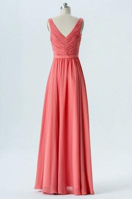 A Line Chiffon Hi-Lo V-Neck Sleeveless Bridesmaid Dresses with Ruffles_2