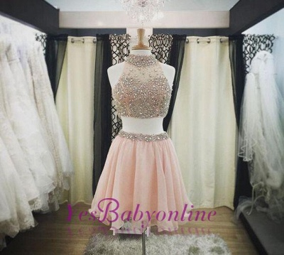 Blush Short Pink Luxury Two-Piece Halter-Neck Crystals Homecoming Dresses_1