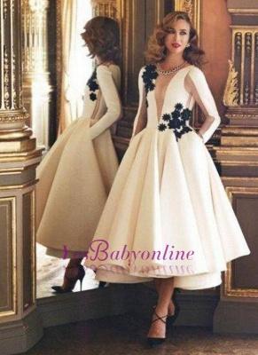 Pockets Puffy Vintage Deep-V-Neck Long Sheer Long-Sleeves Ruffles Evening Dresses_2