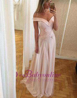 Unique Light-pink Long Off-the-shoulder Lace Formal Dress_1