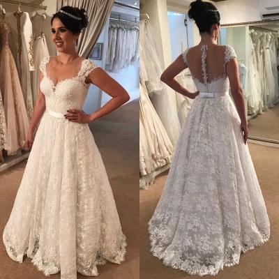 Modern Cap-Sleeve Lace A-line Zipper Wedding Dress_3