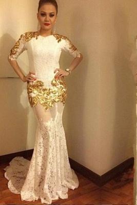 Luxurious Half-sleeve Lace Prom Dresses   Long Mermaid Evening Dresses_2