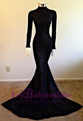 Black Long-Sleeve Modest Mermaid High-Neck Prom Dress_1
